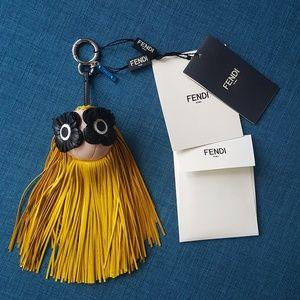 Fendi Fringe Eyes Bag Charm Yellow/Black